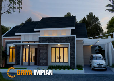 Desain Griya 1 Lantai di Lahan 20 x 14 M2 Bergaya Tropis