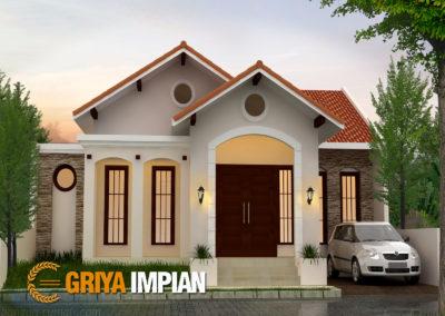 Desain Griya 1 Lantai di Lahan 12 x 18 M2 Bergaya Tropis Tempo Doeloe