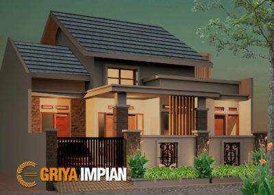 Desain Griya 1,5 Lantai di Lahan 11 x 12 M2