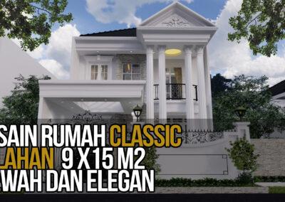 Desain Rumah Klasik 2 Lantai di Lahan 9 x 15 M2